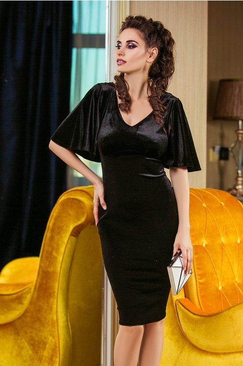 Rochie Dafne Neagra din Catifea Eleganta