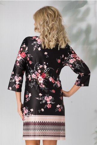 Rochie Daiana neagra cu imprimeuri florale roz