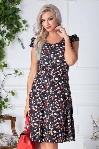Rochie Daisy neagra cu flori albe si rosii