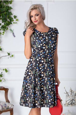 Rochie Daisy neagra cu floricele albe si albastre