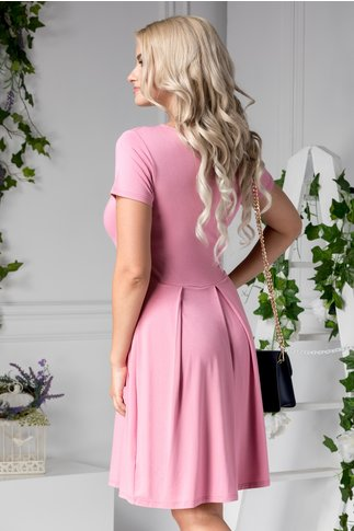 Rochie Daisy roz de zi cu aplicatii florale in talie