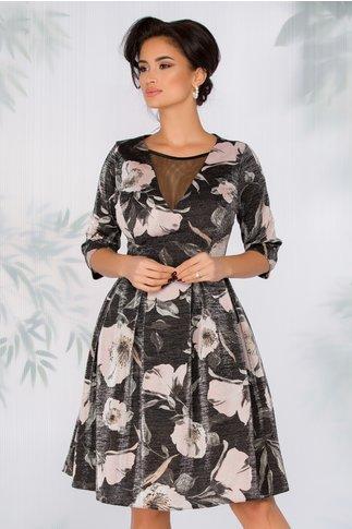 Rochie Daizee neagra cu imprimeu floral si fir lurex argintiu