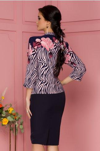 Rochie Dalia bleumarin cu imprimeu exotic roz
