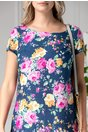 Rochie Dalia bleumarin de zi cu trandafiri