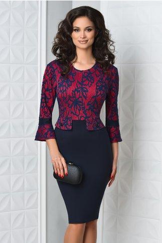 Rochie Dalia midi bleumarin cu rosu eleganta