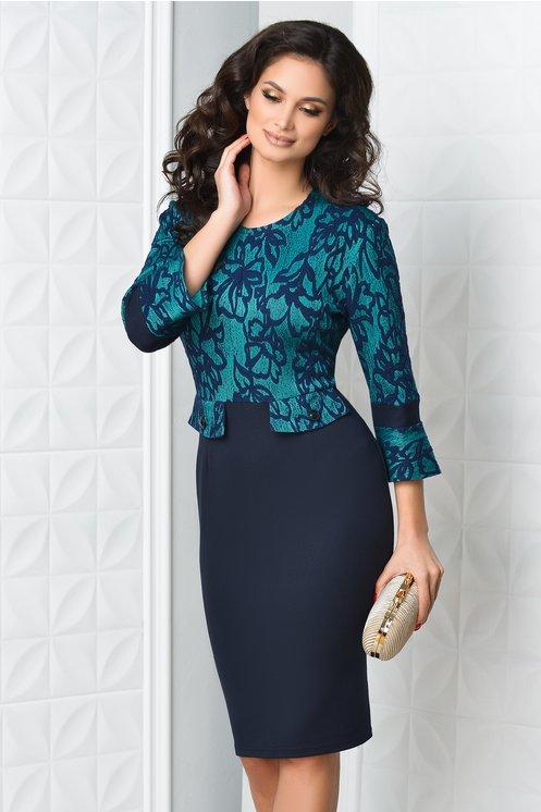 Rochie Dalia midi bleumarin cu verde eleganta