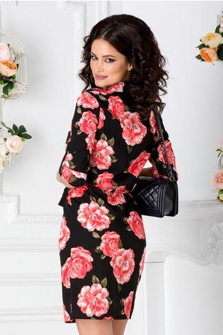 Rochie Dalia tip camasa neagra cu imprimeu floral