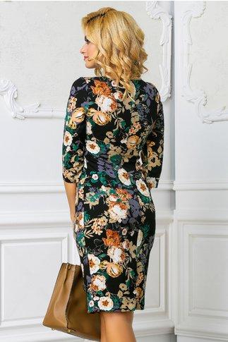 Rochie Daliana neagra cu imprimeuri florale