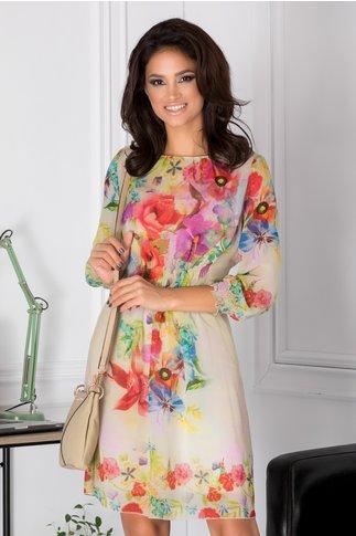 Rochie Dalina vaporoasa cu imprimeu floral colorat
