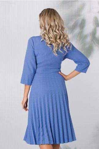 Rochie Damaris albastru deschis cu fusta plisata