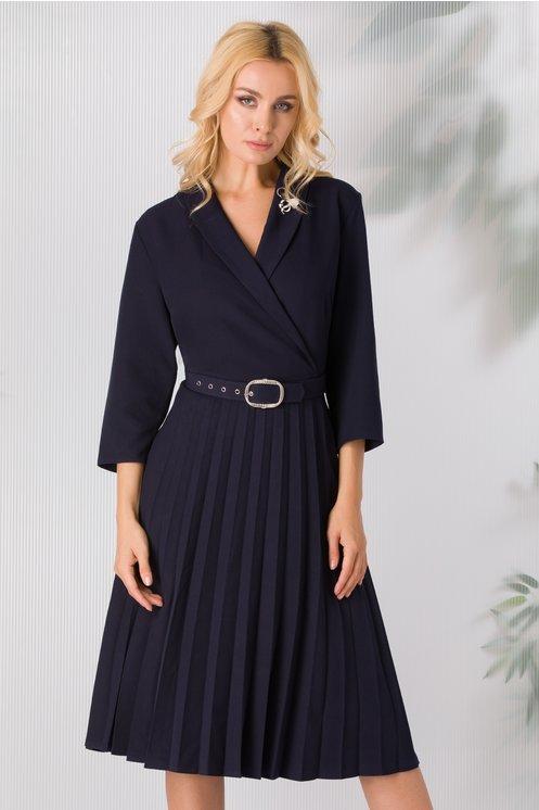 Rochie Damaris bleumarin cu fusta plisata