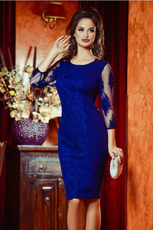 Rochie Damaris Bleumarin de Seara Eleganta