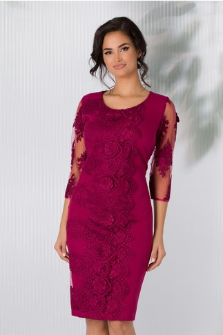Rochie Damaris magenta cu broderie florala