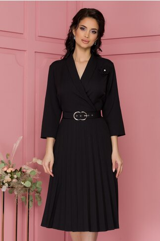 Rochie Damaris neagra cu fusta plisata si curea in talie