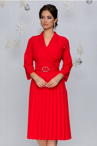 Rochie Damaris rosie cu fusta plisata si trandafir la bust