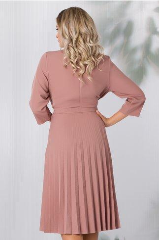 Rochie Damaris roz prafuit cu fusta plisata