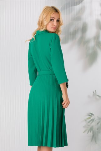 Rochie Damaris verde deschis cu fusta plisata
