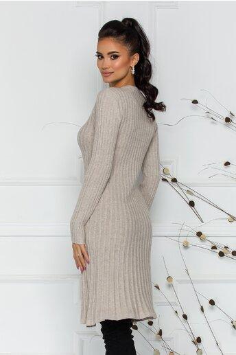 Rochie Damia bej din tricot reiat