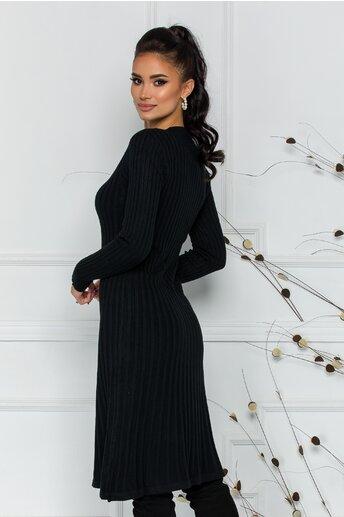Rochie Damia neagra din tricot reiat