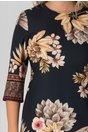 Rochie Damiana bleumarin cu imprimeuri florale bej