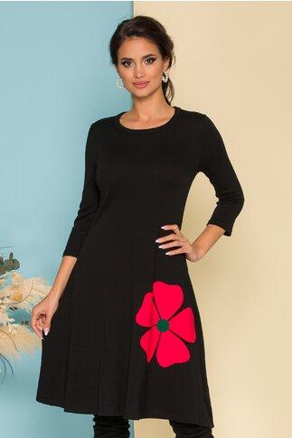 Rochie Damiana neagra cu aplicatie florala rosie