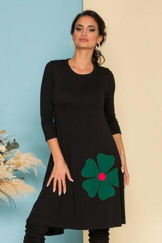 Rochie Damiana neagra cu aplicatie florala verde