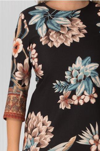 Rochie Damiana neagra cu imprimeuri florale caramizii