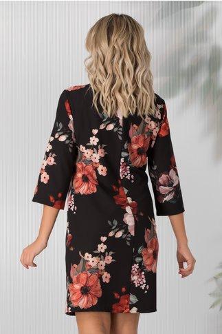 Rochie Damiana neagra cu imprimeuri florale corai