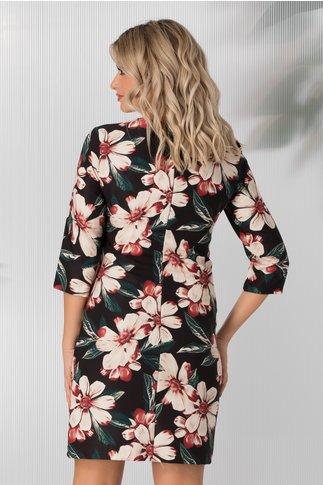 Rochie Damiana neagra cu imprimeuri florale maxi