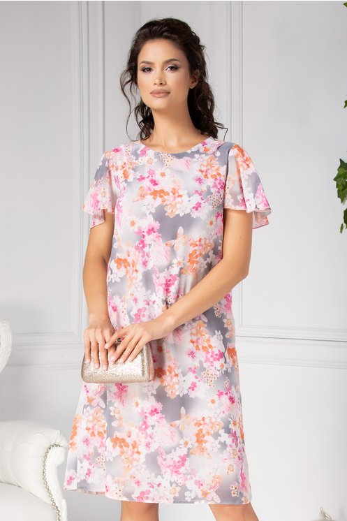 Rochie Damiana vaporoasa gri cu flori roz