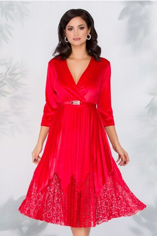 Rochie Dana rosie din catifea cu fusta plisata si insertii din dantela