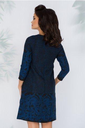 Rochie Danette neagra cu imprimeu floral si insertii albastre