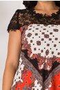 Rochie Daniela caramizie cu imprimeuri si dantela neagra la bust