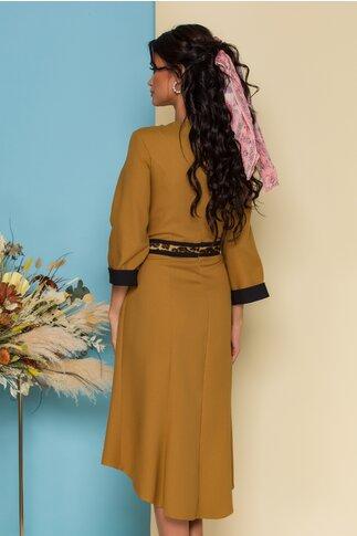 Rochie Danna camel cu insertie animal print in talie