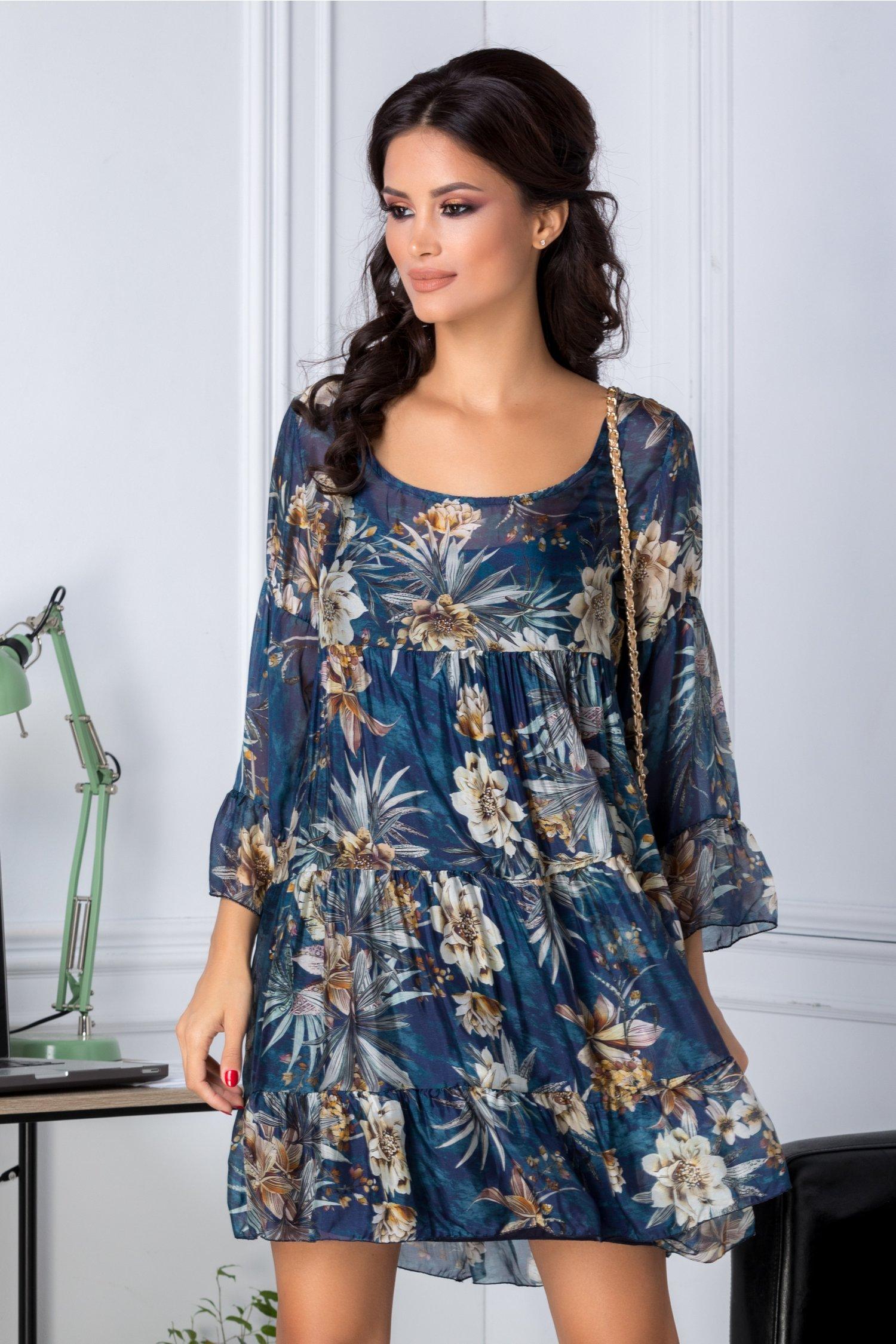 Rochie Dany albastra vaporoasa cu imprimeu floral