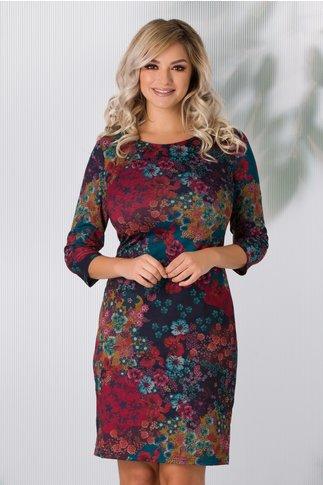 Rochie Dany bleumarin si turcoaz cu imprimeuri florale