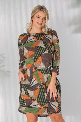 Rochie Dany din jerse cu imprimeu multicolor si cret la spate