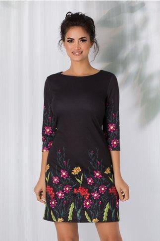 Rochie Dany neagra cu imprimeuri florale