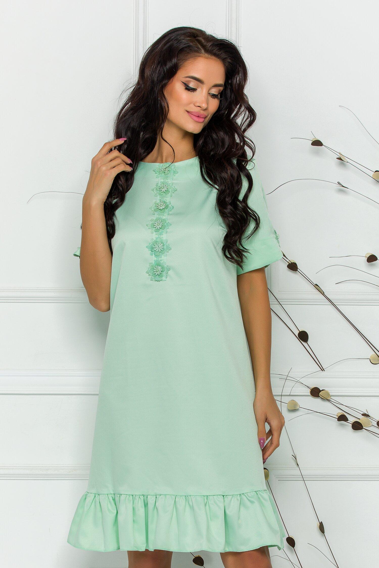 rochie dany verde mint cu broderie delicata la bust 598270 4