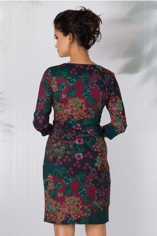 Rochie Dany verde si bordo cu imprimeuri florale