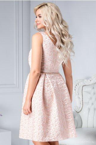 Rochie Danya roz de ocazie cu detalii florale
