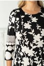 Rochie Dara neagra cu imprimeu floral alb