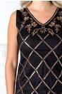 Rochie Dara neagra cu romburi din paiete