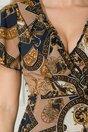 Rochie Dara petrecuta bej cu imprimeu bleumarin