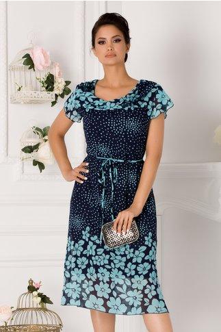 Rochie Daria bleumarin cu buline si imprimeu floral bleu