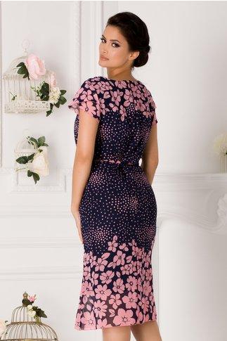 Rochie Daria bleumarin cu buline si imprimeu floral roz