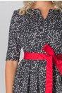 Rochie Daria bleumarin cu imprimeu gri si cordon rosu in talie