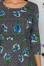 Rochie Daria gri cu flori albastre