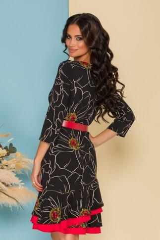 Rochie Daria neagra cu imprimeu floral si curea in talie
