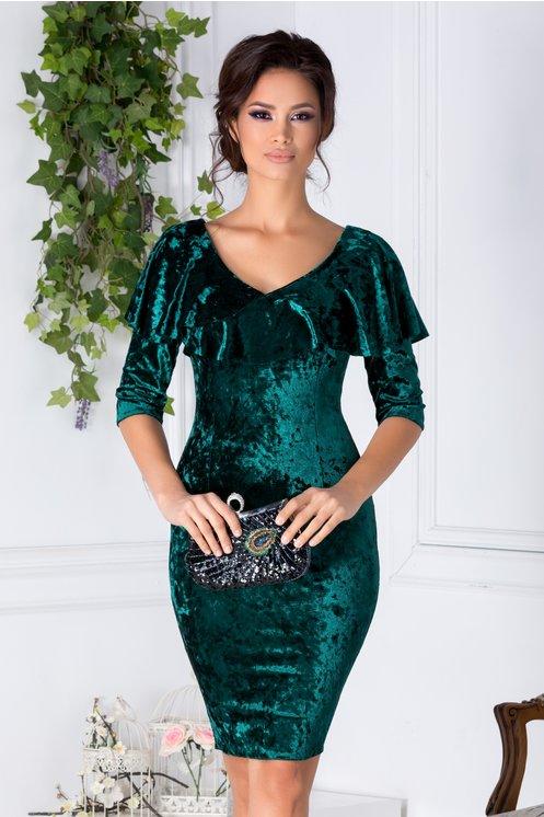 Rochie Daria verde cu reflexii din catifea cu volane